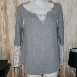 Knox Rose Distressed Lace Sweater